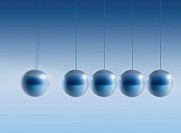 Newton´s cradle, artwork. This device consists of a number of steel balls suspended from a frame not seen in a horizontal line. Here, one ball on the ...