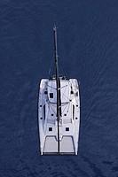 aerial view of a catamaran in rio dulce, guatemala