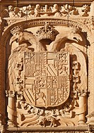 imperial shield of carlos v above the entrance to the courtyard of escuelas menores, salamanca, salamanca province, spain
