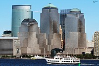 The World Financial Center with the Goldman Sachs building on the left rear Lower Manhattan, New York City, New York, USA Viewed from Liberty State Pa...