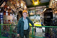 Peter Higgs b. 1929, British theoretical physicist, at the CMS compact muon solenoid detector, CERN the European particle physics laboratory near Gene...