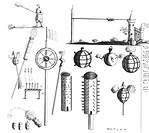 17th century weapons, artwork. Image from Mariners Magazine Samuel Sturmy 1669.