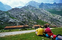 Crossing Fuente De- Aliva- Sotres. In the background Vega de Sotres. Picos de Europa. National Park.  Asturias. Spain.