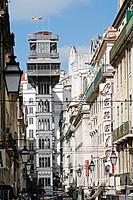 RUA DE SANTA JUSTA AND ELEVATOR, ELEVADOR DE SANTA JUSTA, LISBON, PORTUGAL, EUROPE