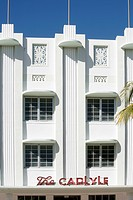 ART DECO FACADE, HOTEL CARLYLE, OCEAN DRIVE, ART DECO NEIGHBORHOOD IN MIAMI BEACH, MIAMI, FLORIDA, USA