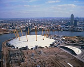 Millennium Dome. View of the Millennium Dome in London, England, with the River Thames in the background. It is the largest dome in the world and will...