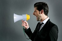 bullhorn businessman megaphone profile shouting loud