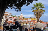 Lisbon, National Pantheon of Santa Engracia from Largo das Portas do Sol viewpoint, Alfama district, Portugal, Europe.