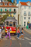 Lisbon  Tramway in Alfama District  Portugal.