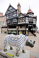 Half timbered houses at the Eastgate Street in Chester city, United Kingdom, Europe