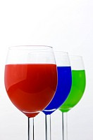 Three Glasses containing different colors