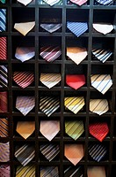 Ties neatly place in rack