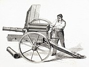 Revolving cannon patented by J A  de Brame in 1861  From El Museo Universal, published Madrid 1862