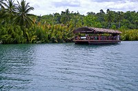 Bohol Island, Cebu, Philippines, Asia, A tourboat on the river
