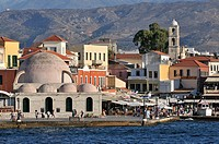 Traditional buildings and Turkish baths at the old port of Chania, Crete island, Greece