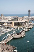 Port Vell with the newly built shopping center Maremagnum, Barcelona, Spain