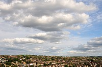 Early autumn sky and clouds over Hemel Hempstead, Hertfordshire, UK