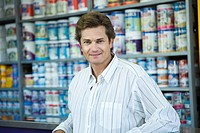 Man shopping at home improvement store, portrait