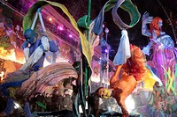 THE FLOAT CARRYING THE QUEEN PREGNANT WITH THE EARTH THE BLUE PLANET, PARADE OF FLOATS AND CARNIVALESQUE CHARACTERS ON THE PLACE MASSENA, CARNIVAL OF ...