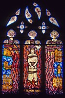 JOAN OF ARC, FATHER FOUCAULD, DETAIL OF STAINED GLASS BY FRANCOIS DECORCHEMONT, CHURCH OF BRIONNE, EURE, UPPER NORMANDY, FRANCE