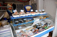 fish counter at the covered market in Tighina or Bender, Transnistria
