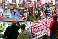 GROCERY SHOP AND PORK PRODUCTS, SPECIALIZING IN REGIONAL PRODUCTS, COVERED MARKET, MERCADO DE LA CEBADA, LA LATINA NEOGHBORHOOD, MADRID, SPAIN