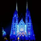 Illuminated St Paul church at night Strasbourg Alsace France