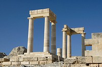 Acropolis at Lindos , Rhodes , Dodecanese , Greece