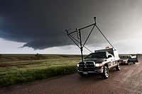 Project Vortex 2 storm chasers parked alongside the road in Kansas, May 23, 2010  Project Vortex 2 is a two year government funded science mission to ...