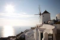 Greece, Cyclades, Santorini, Oia, windmill ...