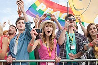 Young people cheering at festival (thumbnail)