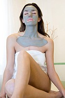 Woman with facial mask                                                                                                                                ...
