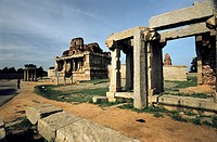 Krishna temple in Hampi, Karnataka This partly collapsed temple, located south of Hemakuta Hill, was built to celebrate a military victory of King Kri...