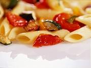 Pasta, tomatoes, eggplants
