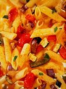 Macaroni and vegetable sauce