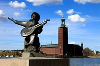 Evert Taube monument and Town Hall, Stockholm, Sweden