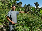 Farmer on his plot of land in Comunidad Las Palmeras, ECOTOPS projects in Alto Beni, Bolivia