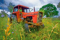 Tractor abandoned in the Ebro Delta