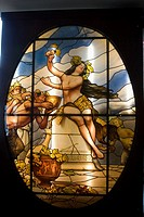 Bacchanalia stained glass woman  Designed by Raffaello Armenise  Smith Museum of Stained Glass WIndows