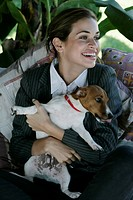 Young woman with jack russel terrier