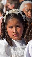 MEXICAN ANGEL leaves TEMPLO DEL ORATORIO DE SAN FELIPE NERI during EASTER PROCESSION _ SAN MIGUEL DE ALLENDE, MEXICO