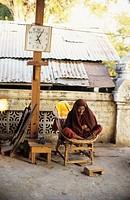 Burma, Mandalay, old monk in Shaykyatyet pagoda