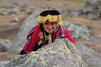 Young QUECHUA beauty calls the high Altiplano near AUZANGATE home _ PERUVIAN ANDES