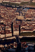 France, Rhône_Alpes, Lyon aerial view of the city