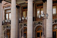 ROMAN COLUMNS and STREET LAMPS at THE TEATRO JUAREZ which is a historical THEATER _ GUANAJUATO, MEXICO