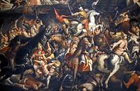 Malta. Painting illustrating a battle between christian knights and muslims forces at the crusades.