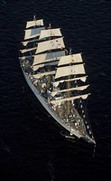Tall ship, aerial view