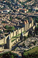 France, Languedoc_Roussillion, Carcassonne town, aerial view