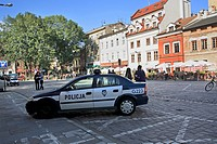 Police car at Sezroka street, Old Jewish district Kazimierz, Krakow, Poland
