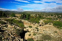 Remains of defensive structures of the Spanish civil war, Sierra de Javalambre, Sarrion, Teruel province, Aragon, Spain